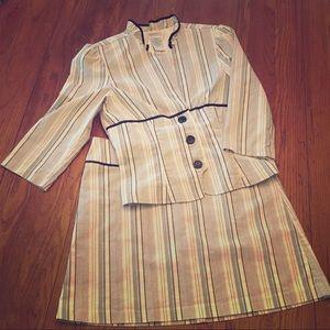 Striped Skirt & Jacket Set